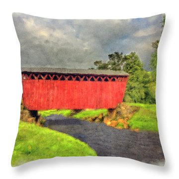 Red Covered Bridge With Car Throw Pillow by Dan Friend