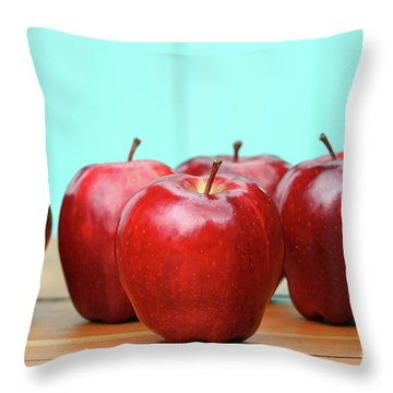 Red Delicious Apples On Old School Desk Throw Pillow by Sandra Cunningham