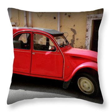 Red Deux Chevaux Throw Pillow by Lainie Wrightson
