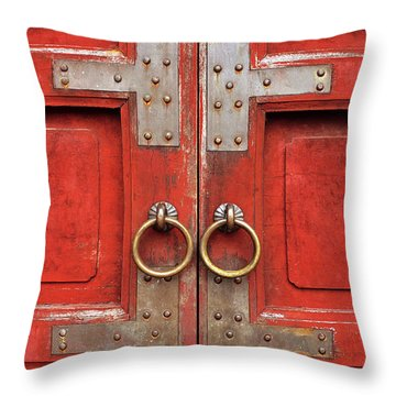 Red Doors 01 Throw Pillow by Rick Piper Photography