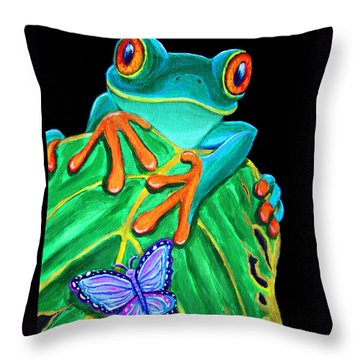 Red-eyed Tree Frog And Butterfly Throw Pillow by Nick Gustafson