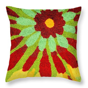Red Flower Rug Throw Pillow by Janette Boyd