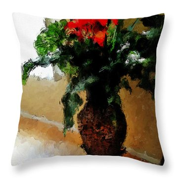 Red Flower Stance Throw Pillow by Robert Smith