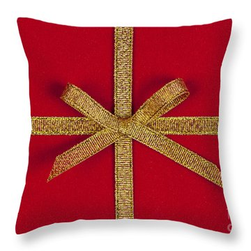 Red Gift With Gold Ribbon Throw Pillow by Elena Elisseeva