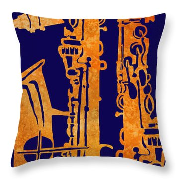 Red Hot Sax Keys Throw Pillow by Jenny Armitage
