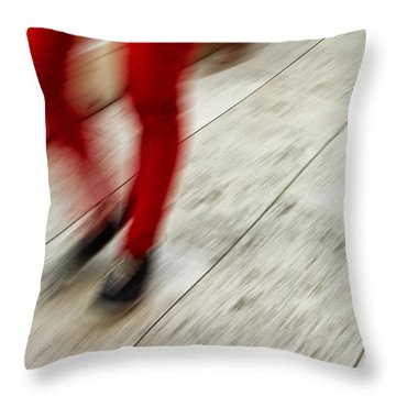 Red Hot Walking Throw Pillow by Karol Livote