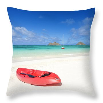Red Kayak At Lanikai Throw Pillow by M Swiet Productions