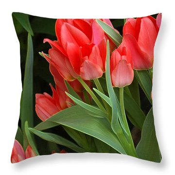 Red Ladies Throw Pillow by Kathleen Struckle