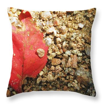 Red Leaf Throw Pillow by Venus
