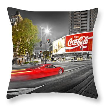 Red Lights Sydney Nights Throw Pillow by Az Jackson