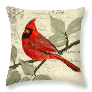 Red Melody Throw Pillow by Lourry Legarde