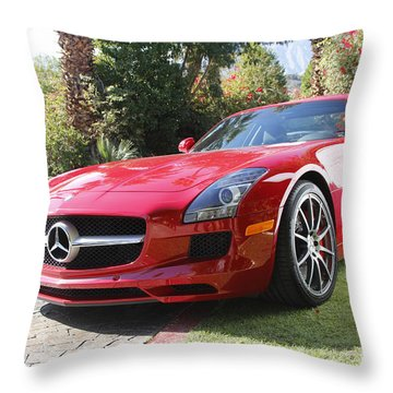 Red Mercedes Benz Throw Pillow by Nina Prommer