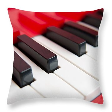 Red Piano Throw Pillow by Yew Kwang