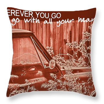 Red Pickup Quote Throw Pillow by JAMART Photography