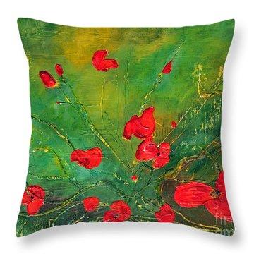 Red Poppies Throw Pillow by Teresa Wegrzyn
