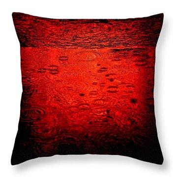 Red Rain Throw Pillow by Dave Bowman