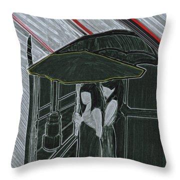 Red Rain Throw Pillow by First Star Art
