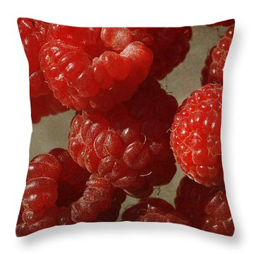 Red Raspberries Throw Pillow by Cindi Ressler