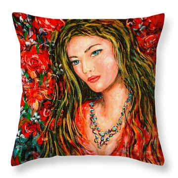 Red Roses Throw Pillow by Natalie Holland