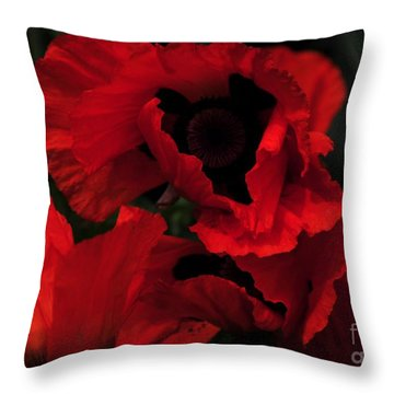 Red Ruffles Throw Pillow by Kathleen Struckle