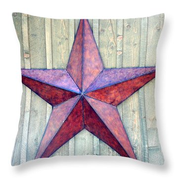 Red Rusted Star Throw Pillow by Holly Blunkall