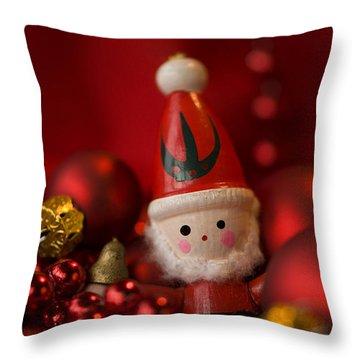 Red Santa Throw Pillow by Anne Gilbert