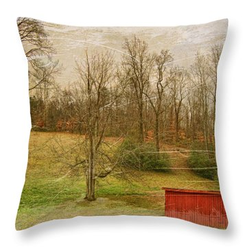 Red Shed Throw Pillow by Paulette B Wright