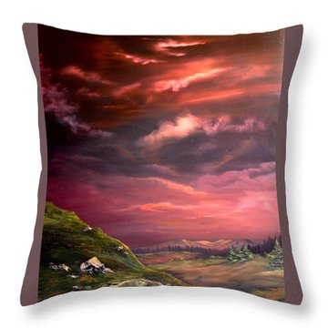 Red Sky At Night Throw Pillow by Jean Walker
