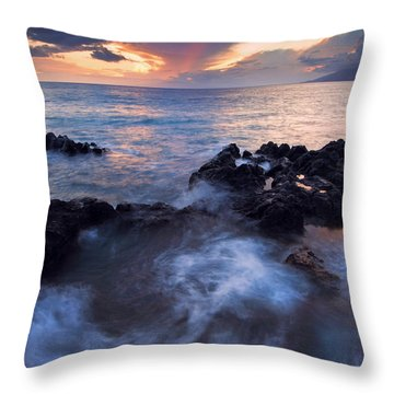 Red Sky Over Lanai Throw Pillow by Mike  Dawson