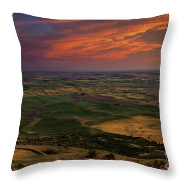 Red Sky Over The Palouse Throw Pillow by Mike  Dawson