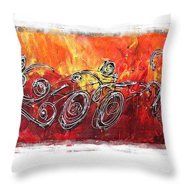 Red Splash Triathlon Throw Pillow by Alejandro Maldonado