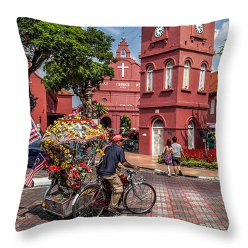 Red Square Malacca Throw Pillow by Adrian Evans