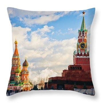 Red Square Of Moscow - Featured 3 Throw Pillow by Alexander Senin