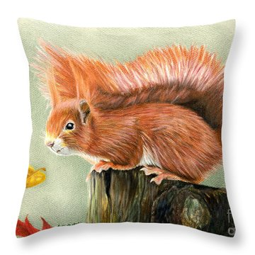 Red Squirrel In Autumn Throw Pillow by Sarah Batalka