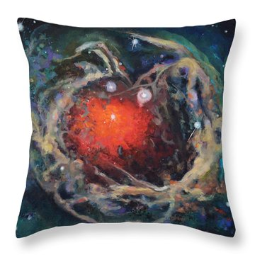 Red Star Throw Pillow by Toni Wolf