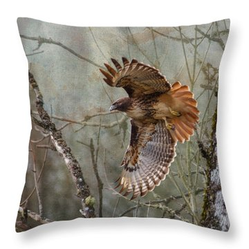 Red-tail Hawk In Flight Throw Pillow by Angie Vogel