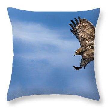 Red Tailed Hawk Soaring Throw Pillow by Bill Wakeley