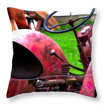 Red Tractor Rural Photography Throw Pillow by Laura  Carter