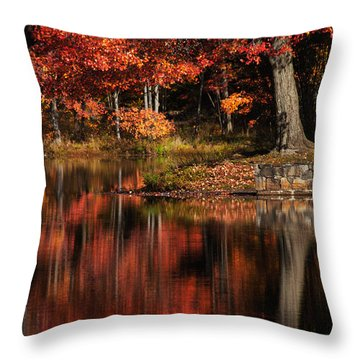 Red Tree Throw Pillow by Karol Livote