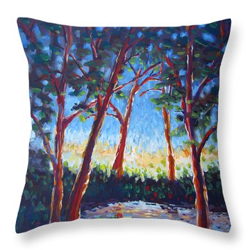 Red Trees Throw Pillow by Vanessa Hadady BFA MA