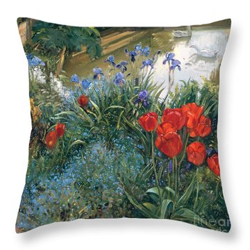 Red Tulips And Geese  Throw Pillow by Timothy Easton