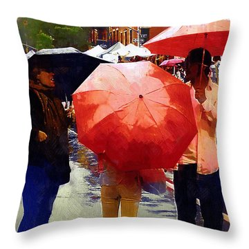 Red Umbrellas In The Rain Throw Pillow by RC deWinter