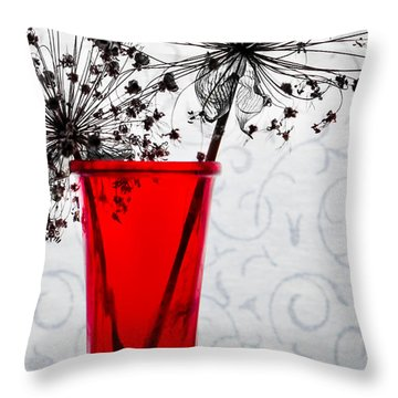 Red Vase With Dried Flowers Throw Pillow by Michael Arend