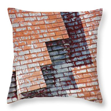Red Wall Throw Pillow by Sarah Loft