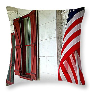 Red White And Blue Throw Pillow by Dorothy Menera