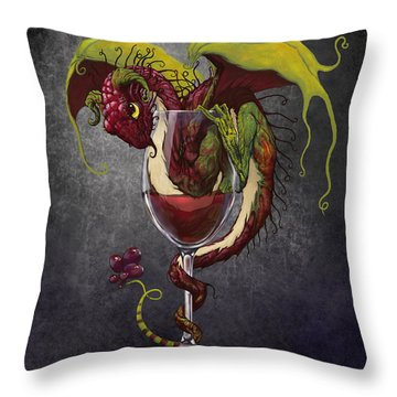 Red Wine Dragon Throw Pillow by Stanley Morrison