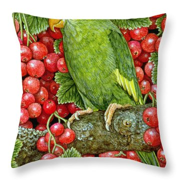 Redcurrant Parakeet Throw Pillow by Ditz