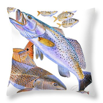Redfish Trout Throw Pillow by Carey Chen