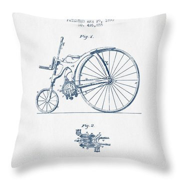 Reed Bicycle Patent Drawing From 1890 - Blue Ink Throw Pillow by Aged Pixel