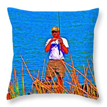 Reel Inn Throw Pillow by Joseph Coulombe
